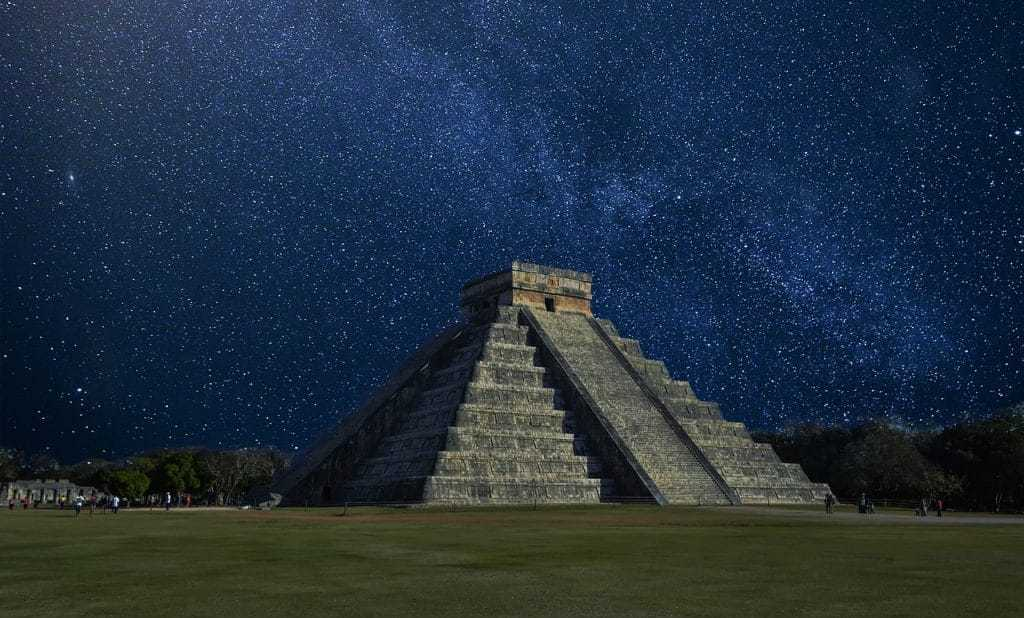 A night shot of the Chichen Itza Pyramid in Mexico