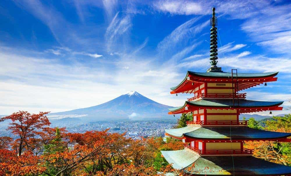 Mt. Fuji with red pagoda in autumn, Fujiyoshida, Japan